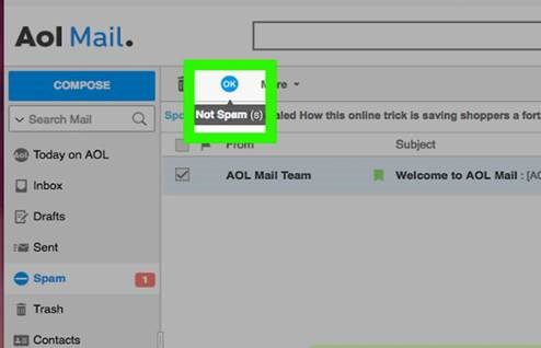 Select the Email the Select Not Spam